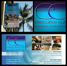 Executive Cut Barber Services- logo, business card & sign.
