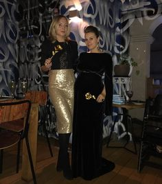 AZD ladies in our outfits  @victoriaclaire.fashion wearing Golden Vivi skirt and @anna_k_zakharkina in Black Onyx Edwin gown #annazdesigns_ladies #celebrationseason #eveninggown #sequinskirt #velvetdress #elegant #fashion #style