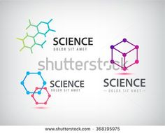 Vector set of science logos, biology, physics, chemistry logo. Laboratory identity, atom logos, cells