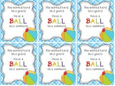 5 End Of Year Student Gift Ideas: free labels you can print if you give them beach balls. Give them a marker too and let all the kids in their class sign it