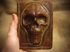 Tarot leather bag case wet molded Rider Waite standard size with skull