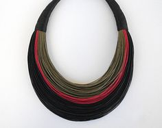 Statement Fiber Necklace, Minimalist Jewelry, Street Fashion, Trending Necklace, Bold Necklace