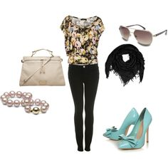 floral shirt with pop of color shoe.