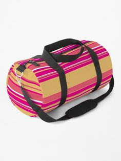 """""""Complex Stripes - Hot Pink"""" Duffle Bag by LAEC-Shop 