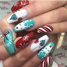 50 beautiful stylish and trendy nail art designs for christmas. Xmas Nails, Halloween Nails, Christmas Nails, 3d Nails, Holiday Nails, Winter Christmas, Christmas Time, Fancy Nails, Cute Nails