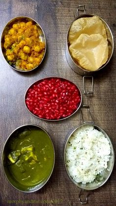 Lunchbox Idea 24 is a delicious healthy feast :Short Break : Choley and Puri Lunch : Palak Paneer, Jeera Rice and Pomegranate arils. Indian Lunch Box, Lunch Recipes Indian, Lunch Box Recipes, Vegetarian Recipes, Cooking Recipes, Healthy Recipes, Lunch Box Ideas, Lunch Boxes, Meal Ideas