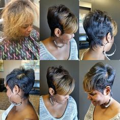 Short cut with highlights Short Black Hairstyles, Pixie Hairstyles, Cute Hairstyles, Tapered Hairstyles, Short Sassy Hair, Short Hair Cuts, Short Hair Styles, Pixie Cuts, Love Hair