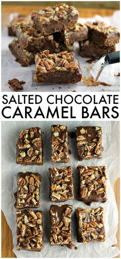 Salted Chocolate Caramel Bars start with a layer of chocolate shortbread, topped…