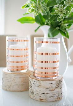 Copper Striped Candle Holders #DIY