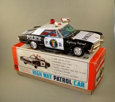 Bandai Police Highway patrol Car  Battery operated toy from 60s/ebay