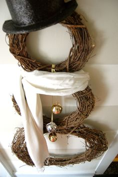 Snowman wreath for the front door.