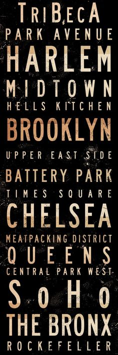 New York City Neighborhoods typography graphic Canvas Art horizontal graphic mixed media collage 12 x 36 x 1.5
