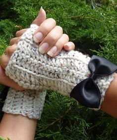 Oatmeal Fingerless Gloves by Mademoiselle by mademoisellemermaid, $22.00