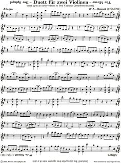Violin Sheet Music: Der Spiegel (the Mirror) by W. A. Mozart. Look very closely at this musical jewel of creativity,  brilliant and playful piece of music. Happy music making!
