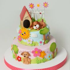 Adorable Cake at a Puppy Party! Dog Cakes, Baby Cakes, Girl Cakes, Cupcake Cakes, Pretty Cakes, Cute Cakes, Decors Pate A Sucre, Bolo Minnie, Puppy Cake