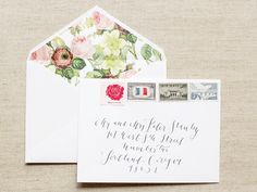 Oh So Beautiful Paper: Megan + Nick's Calligraphy and Floral Wedding Announcements