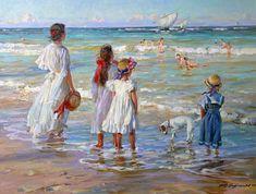 Парусники, Александр Аверин- живопись импрессионизм, мрские волны, ветер, люди