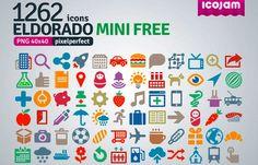 Eldorado es un pack compuesto por un total de 1262 iconos PNG completamente gratuitos. Puedes usarlos libremente en proyectos comerciales o personales.