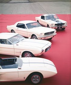 From top: Shelby GT 350, Mustang, Mustang II concept, Mustang I prototype.