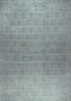 New Moon Rug - Ornament 6, cloud. The sophisticated dot pattern features a cloud blue grey Tibetan wool background with ivory Chinese silk dots.