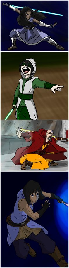 Master Katara by JediqueerArt. Master Toph Beifong by JediqueerArt. Master Tenzin by JediqueerArt. Korra knight of Republic City by JediqueerArt. Star Wars x Avatar series. Team Avatar, Avatar Aang, Character Inspiration, Character Art, Marvel Dc Comics, Republic City, Avatar The Last Airbender Art, Avatar Series, Iroh