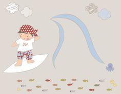 Vinilo Surf - Vinilo de recorte. Piezas que componen la colección: Niño sobre tabla surf, Ola, 4 nubes, 10 peces, , 1 pulpo, 3 caracoles. Si quieres hacer algún cambio de color o de complementos contacta con stencil Barcelona