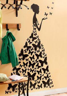 Wandtattoo, Home Affaire, »Schmetterlingsfrau«