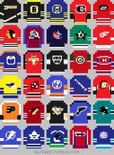 Hockey Jerseys' Poster by AlCreed Diy Perler Beads, Perler Bead Art, Pearler Beads, Fuse Beads, Pearler Bead Patterns, Perler Patterns, Nhl Jerseys, Melting Beads, 8 Bit