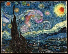 """Science/Math/Art - Christian's favorite painting is Van Gogh's Starry Night, so I showed him that some people have thought the stars in this painting reminded them of galaxies.  Here is an altered image of Starry Night which looks more like Nebula Night.  ;)  """"Starry Night Scavenger Hunt"""""""