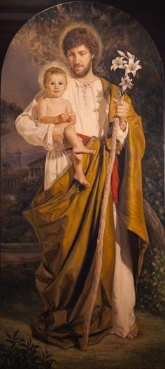 Saint Joseph, Foster Father Of The Child Jesus. Catholic Art, Catholic Saints, Religious Art, Religious Pictures, Jesus Pictures, Christian Images, Christian Art, Religion, Jesus Christ Images