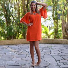 Look de verão - vestido laranja - orange dress