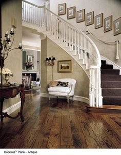 """Lovely staircase with distressed hardwoods aren't only for """"country"""" decors #timberflooring #staircase"""