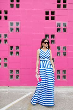 Blue Stripe Maxi Gow