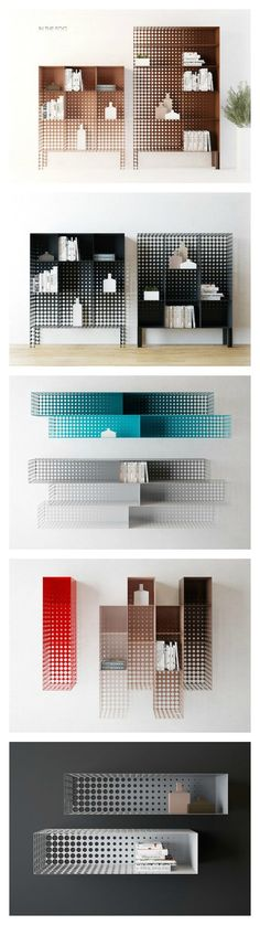 The pegboard graphic-like holes on these modern pieces makes it look like it fades into the wall...too cool!:
