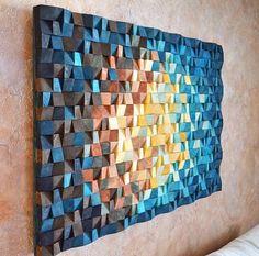 Das Universum - Holz-Wand-Kunst in blau Marine blau gelb orange braun, Holz-Mosaik-Skulptur, abstrakte Malerei auf Holz, 3 d Wand-Kunst-Dekor Wood Wall Art The Universe is a geometric art decor and th Wooden Wall Art, Wooden Walls, Art On Wood, Wood Wall Art Decor, Copper Wall Art, 3d Wall Art, Reclaimed Wood Art, Diy Wood, Wood Wood