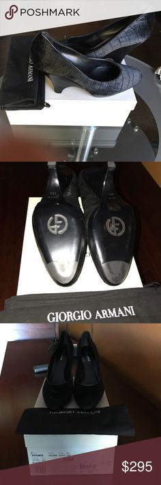 Giorgio Armani Black Velvet Pumps 39.5M Giorgio Armani Pumps Black Velvet with Leather Trim. Caliente model. Size 39.5M. New in box with dust cover, never worn. Beautiful shoe, can be worn for work or evening. Purchased from Norman Marcus, paid $495. Free standard shipping. Giorgio Armani Shoes Heels