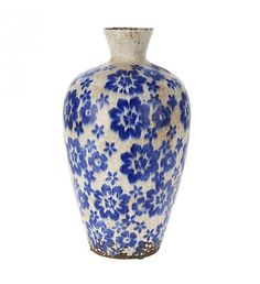 CERAMIC VASE W_BLUE FLOWERS 18X18X31