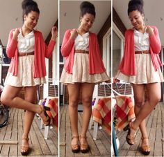 H Coral Cardigan, Monki Powder Pink Lace Skirt, H Light Brown Leather Heels