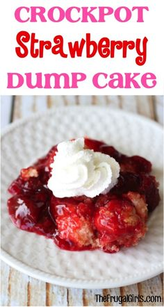 Now here's an easy dessert… just dump it in and walk away! Go grab your Slow Cooker… you're going to love this simple and delicious Crockpot Strawberry Dump Cake Recipe! What You'll Need: 1 box B Crockpot Dessert Recipes, Crock Pot Desserts, Slow Cooker Desserts, Dump Cake Recipes, Crockpot Dishes, Crock Pot Cooking, Slow Cooker Recipes, Delicious Desserts, Cooking Recipes