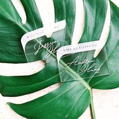 Modern meets tropical. Loved making these engraved clear acrylic place cards for @detailskristi's Bali wedding. @greatromancephoto #hunguponxu #acrylic #lucite #placecard #wedding #weddinginspiration #tropical #luxurywedding #cordiallycouture #aboutdetailsdetails