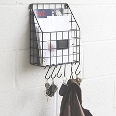 Wall Mounted Multipurpose Mail Organizer Wire Basket with S Hooks Magazine Holder Coat Rack Foyer Storage with Key Hooks for Kitchen Entryway and Garage Black Garage Wall Storage, Key Storage, Entryway Bench Storage, Entryway Wall, Entryway Organization, Storage Baskets, Garage Shelving, Entryway Ideas, Storage Ideas