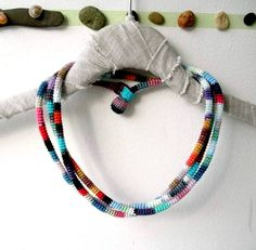 Colorful Wrap Bracelet / Necklace - Crochet Jewelry - Fiber Art Textile Jewellery - $49.00. http://www.youngrepublic.com/jewelry/necklaces/colorful-wrap-bracelet-necklace-crochet-jewelry-fiber-art-textile-jewellery.html