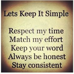 I'm a simple kind of girl!