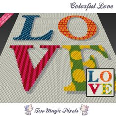 Colorful Love crochet blanket pattern; c2c, cross stitch; graph; pdf download; no written counts or row-by-row instructions by TwoMagicPixels, $3.99 USD