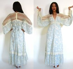Vtg 70s Gunne Sax Sheer Cut Out Lace Floral Plunging Maxi Dress