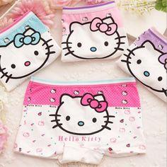 5 pcs / lotCute olá Kitty Menina roupa interior de algodão Cueca Infantil 2015 novos Calzoncillos crianças Lotes al por mayor Calcinha de Menina quente