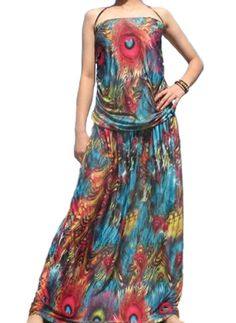 Bohemian Strapless Peacock Dress