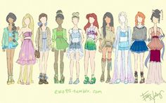 Disney Fashion Part 3: Summer Styles So many crop tops, oh yes. Thanks for checking out my art, see other fashion sketches, such as Finding Nemo, Monsters Inc, and other DIsney sketches here: ewo95 artwork