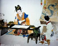 Cai Wenji in her studio - Chinese Meticulous-style Ink Painting by Xiang Weiren Cai Wenjin was one of China's best female historians living during the Han Dynasty in the century. Traditional Paintings, Traditional Art, Korean Traditional Clothes, Chinese Prints, Geisha Art, Illustration Art Drawing, China Art, Historical Art, Creative Pictures