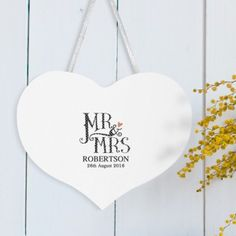 Personalised Dotty Mr and Mrs White Wooden Heart Sign